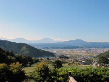 ぽんぽこの湯から北信五岳と中野平を一望